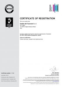 Outlet del Funerale certificazione ISO 9001