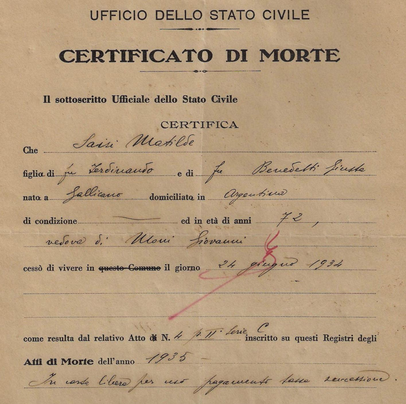 Certificato di morte, esenzione da bollo