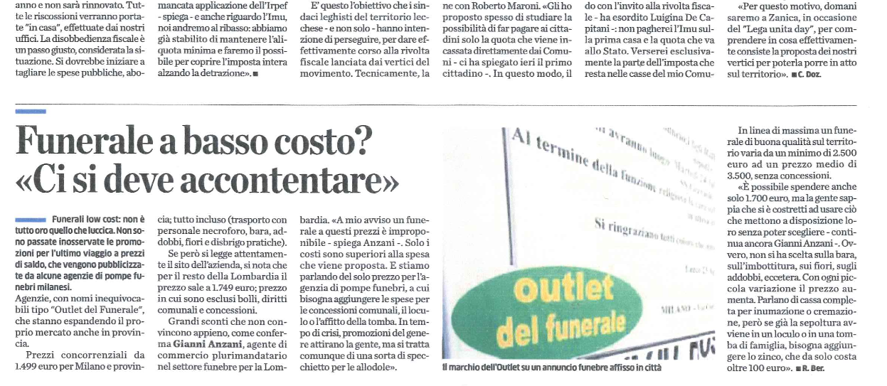 Funerali low cost a milano e provincia outlet del funerale for Outlet arredamento milano e provincia