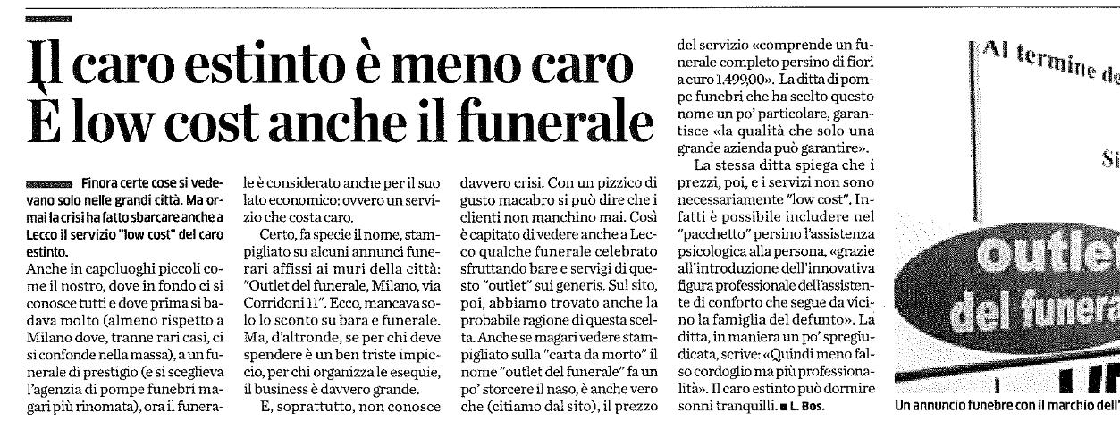 Articolo su Outlet del funerale