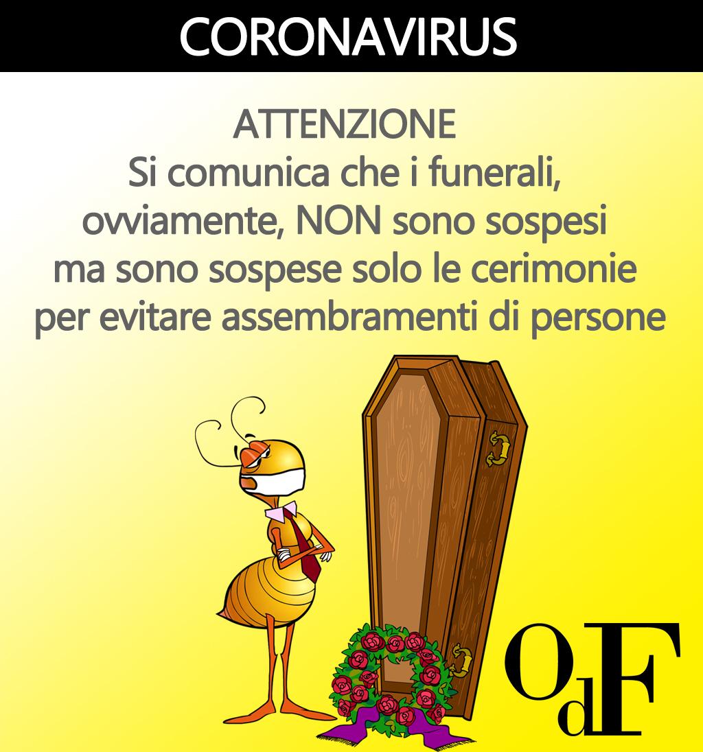 Fermi tutti: a causa del coronavirus sono sospese le cerimonie, non i funerali